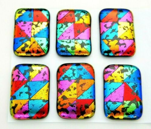 Lot 6 pcs RECTANGLE DICHROIC FUSED GLASS pendant (L2) CABOCHON HAND MADE