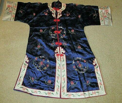 VINTAGE Asian Navy Blue Rayon SMITHSONIAN INSTITUTION Jacket Tunic Kimono
