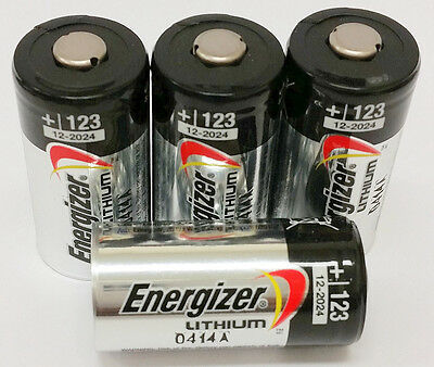 Usa  4 Energizer 3V Cr123a Batteries For Camera  Flashlight Etc Expiration 2027