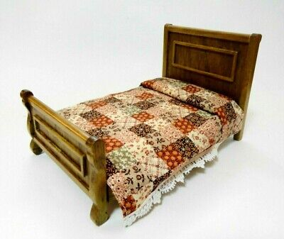 Used, Vintage 1:12 scale Miniature REMINISCENCE Golden Oak carved headboard Bed brown for sale  Shipping to South Africa