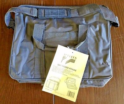 NEW Laptop Notebook Gray Nylon Vinyl Carry Case Attache Briefcase Messenger Bag