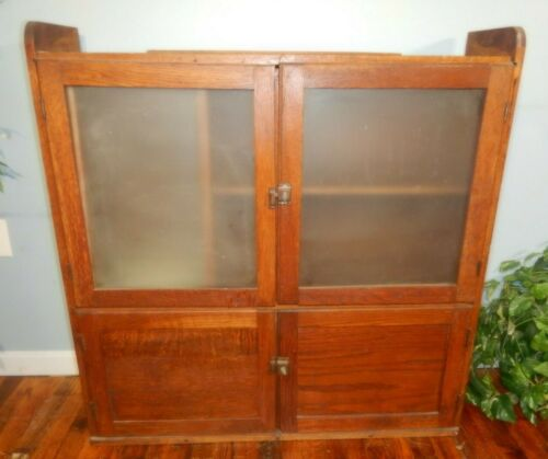 Antique Oak Kitchen Cabinet TOP with Flour Sifter Frosted Glass Sellers Hoosier