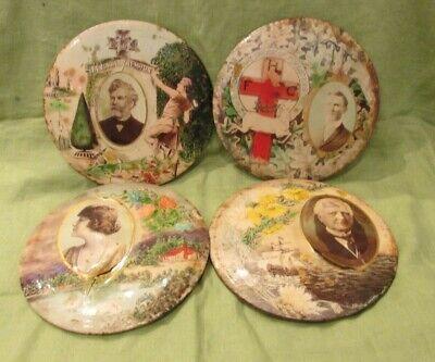 """4 Big 9"""" Antique Victorian Celluloid Pre-Mortem Memory Plaque Funeral Buttons"""