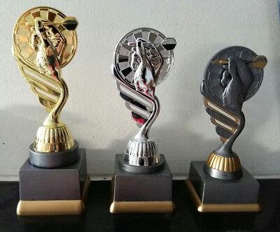 Pokale Pokal 3er Serie Dart Pokale gold silber bronze Figur + Gravur
