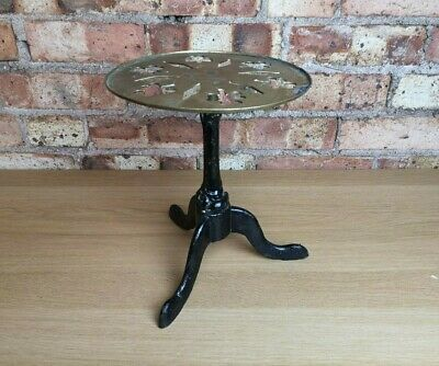 Antique Vintage Round Top Cast Iron Black Base Trivet Iron Kettle Plant Stand