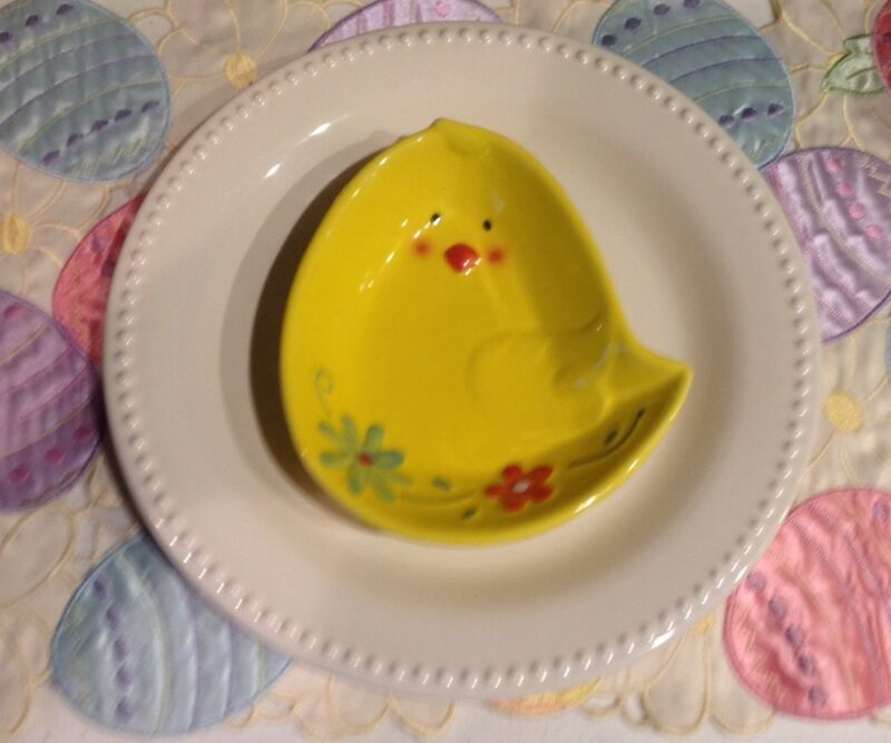Easter Baby Chick Shaped Plate Bowl Dish, Lot of 10, plus 2 Matching MUGS ~ NEW