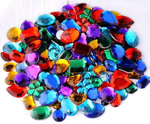 Mixed acrylic gemstones gems jewels craft embellishments for Plastic gems for crafts