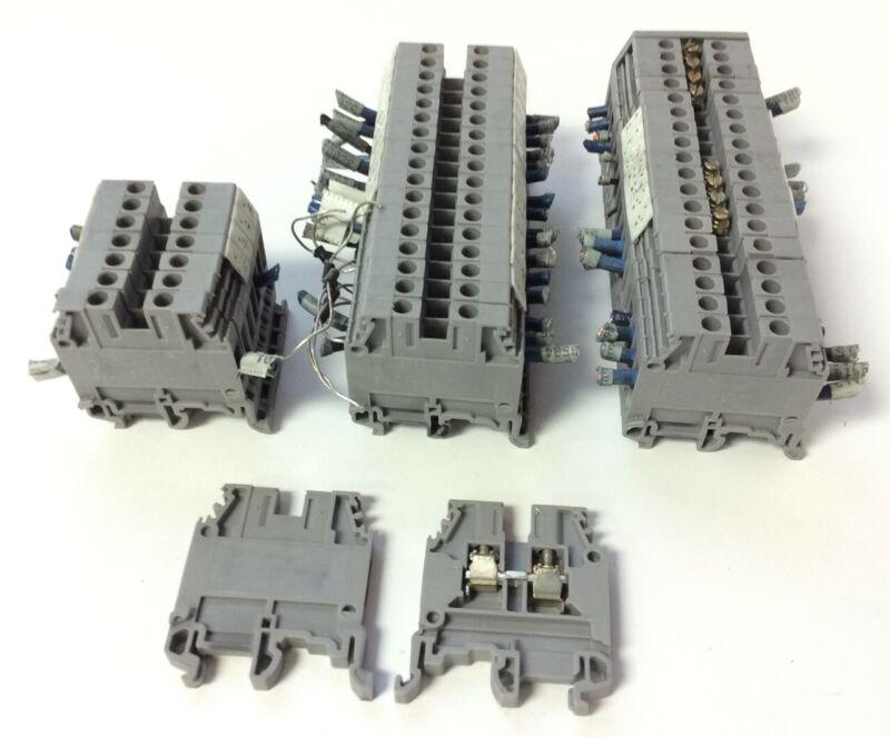 Lot of 44 Entrelec M4/6 5116 Screw Terminal Blocks, 600V 25A, 24-10AWG, Gray