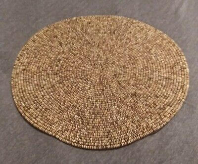 KIM SEYBERT Wood Bead Embroidered Round Placemat NEW 15 Inches
