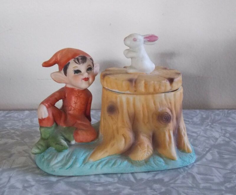 Vtg MCM Xmas Ceramic Woodland Red Pixie Elf with Bunny Trinket Box Japan HTF!!