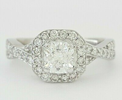 1.1 ct 14K White Gold Radiant Cut Diamond Halo Engagement Ring GIA D / SI1 Ideal