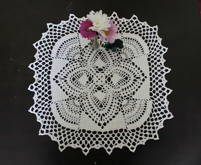 NEW square gorgeous white handmade doily in white