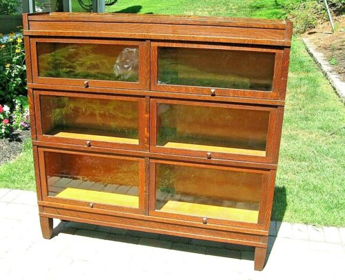 RARE! ANTQ GLOBE WERNICKE DOUBLE WIDE QUARTER SAWN TIGER OAK BARRISTER BOOKCASE