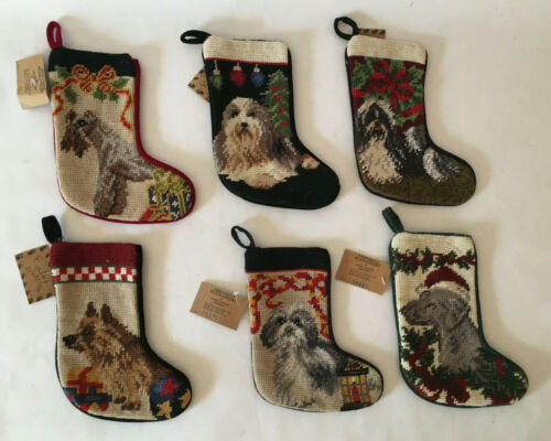 """LOT 6 DIFFERENT UNION TRADING HANDCRAFTED NEEDLEPOINT DOG CHRISTMAS STOCKINGS 8"""""""