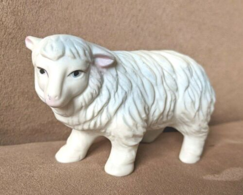 Vintage Homco Ceramic WHITE SHEEP Figurine Christmas Nativity #5552 Replacement