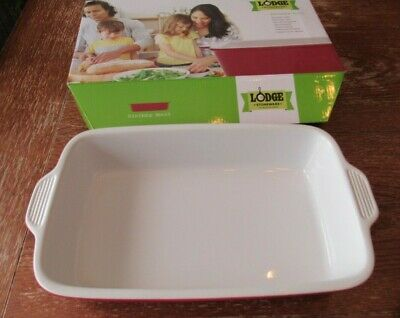 Lodge 3.9 Qt. Stoneware Baking Dish Rectangular Roaster Red 15.3