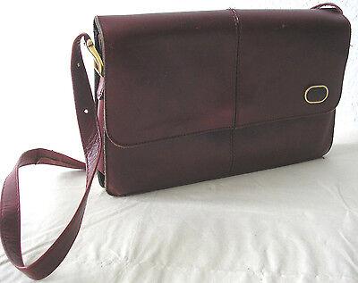 Rot Leder Mode (Damentasche Schultertasche Leder bordeauxrot, Trachtenlook Landhausmode)