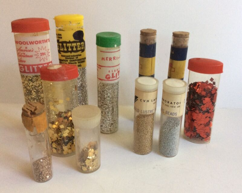 Lot Of 11 Vintage Craft Glitter Tubes Sparkle Gold Silver Lustre Beads Blue Red