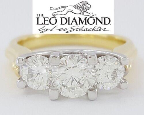 1.45 Ct The Leo 18k & Platinum Three Stone Round Cut Diamond Engagement Ring