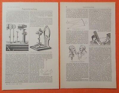 Augenkrankheiten Augenuntersuchung Augenarzt Holzstiche im Text  von 1905