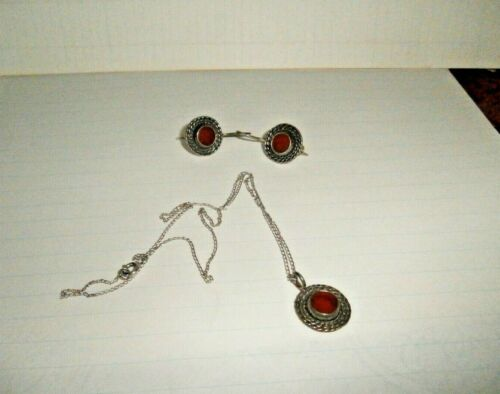 Sterling  red carnelian  sterling pendant and earrings