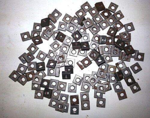"1/4""-20 Square Nuts - Coarse Thread - Plain Steel Finish -  Lot of 100 Pcs."