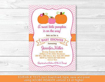 Pink Pumpkin Chevron Printable Baby Shower Invitation Editable PDF](Pumpkin Baby Shower Invitations)