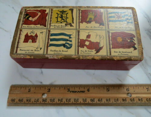 Antique, Vintage,  Red Mottahedeh Wooden Box, made in Italy, Mid-Century
