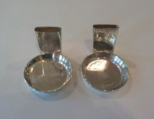 Pair Vintage Sterling Silver Individual Ashtrays with Match Holder