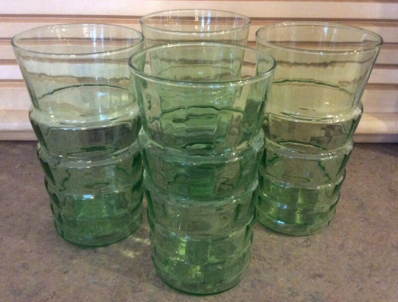 "ANCHOR HOCKING :: Set/4 DEPRESSION GREEN 6"" GLASSES Block Optic Tiered USA"