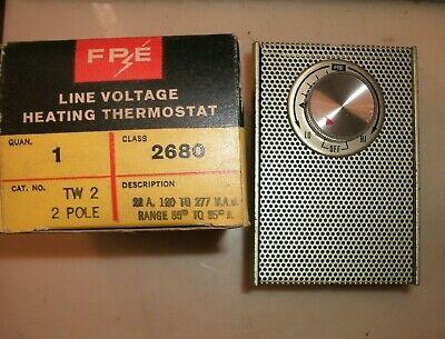 Fpe Tw2 2 Pole Line Voltage Heating Thermostat Vintage