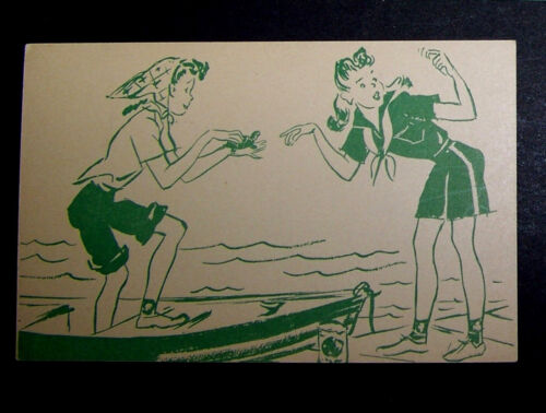 Vintage 1940s Girl Scout  Activities Postcards Unused 2 Girls A Boat & A Turtle