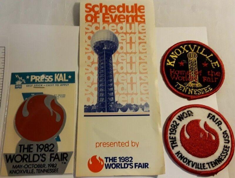 1982 Worlds Fair Memorabilia- Sticker, Badges, Schedule ~Knoxville, Tennessee