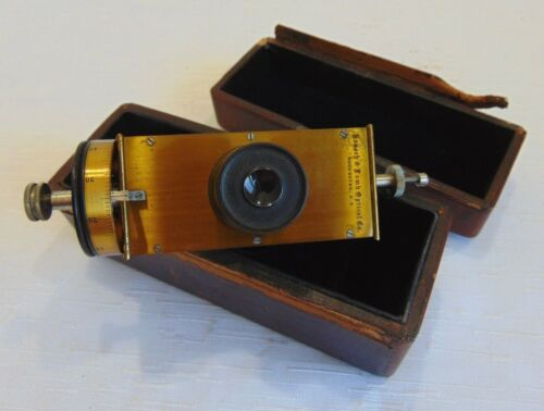 ANTIQUE BRASS FILAR MICROMETER EYEPIECE OCULAR W/ORIGINAL BOX COLLECTOR ITEM!