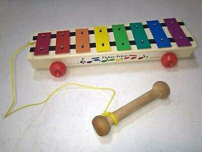 Vintage 1985 Fisher Price Xylophone Pull A Tune Musical Toy With Mallet #870