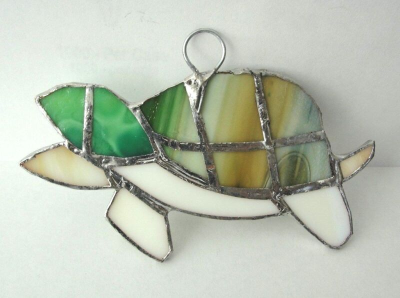 Lot of 5 Stained Glass  TURTLES !  - HANDMADE Suncatcher    Ornament !