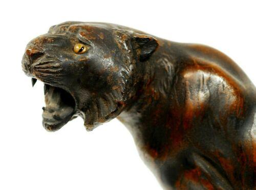Tiger Iron Statue Vintage Japanese Okimono Showa Period 42cm 3.3kg