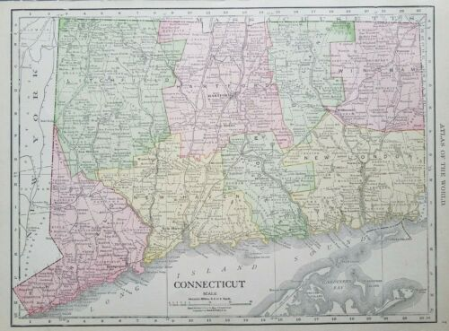 Rand McNally 1916 Map of Connecticut