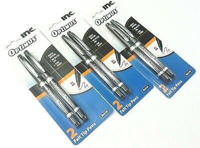 3 Packs 6 Felt Tip Pens Inc Optimus Black Ink Fine Point Quick Drying No Bleed