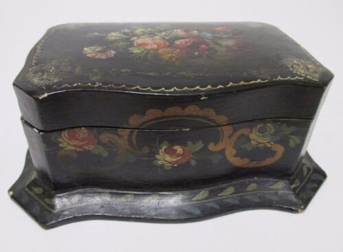 Antique PAPER MACHE TRINKET BOX Hand Painted Cloth Lined Jewel Box FlowersScroll
