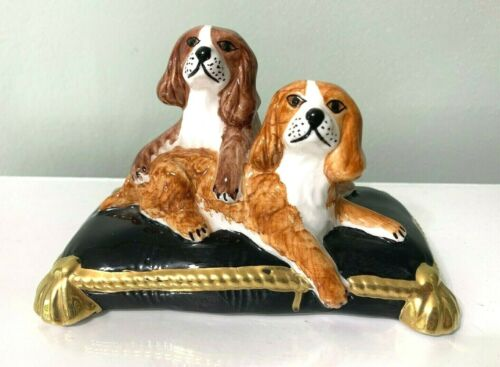 "Ceramic Hand-Painted KING CHARLES SPANIELS CERAMIC FROM EXINIOUS ITALY 6"" long"