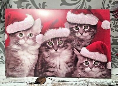 One Vtg Cat Kitten Kitty Cats Silly Funny Santa Hat Glitter Christmas Card New  - Silly Santa Hats