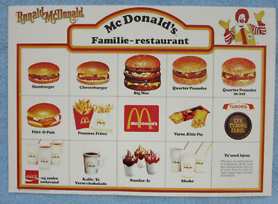 Mcdonalds Norwegian Language Menu Placemat