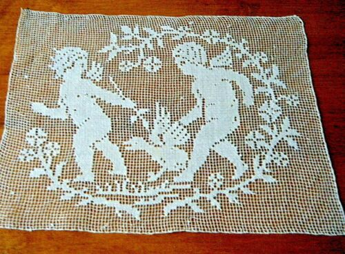 Old Victorian Filet net hand knotted darned linen panel figural w two cupids