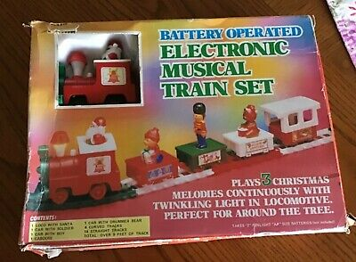 Vintage Battery Operated Electronic Musical Train Set Santa Christmas Toys Nice