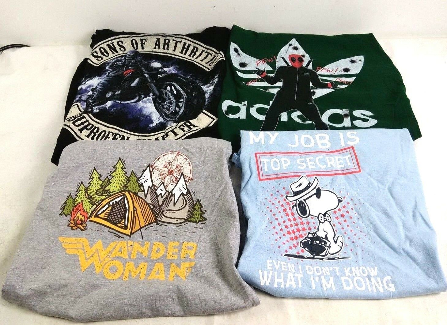 Wholesale Bulk Lot of 75 Graphic Novelty Printed TShirts Assorted Size  Styles