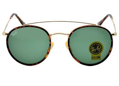 RayBan RB3647N Round Double Bridge 001 Gold Frame/Green Classic G-15 Lenses 51mm