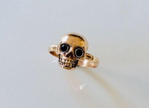 Fine 9CT Gold and Black Diamonds Memento Mori Skull Ring.