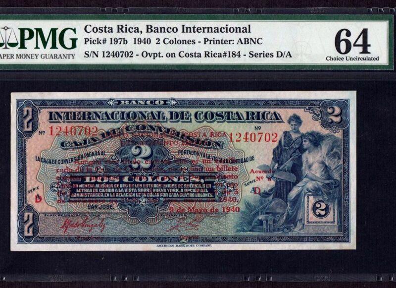 Costa Rica 2 Colones 1940 P-197b * PMG UNC 64 * Scarce *
