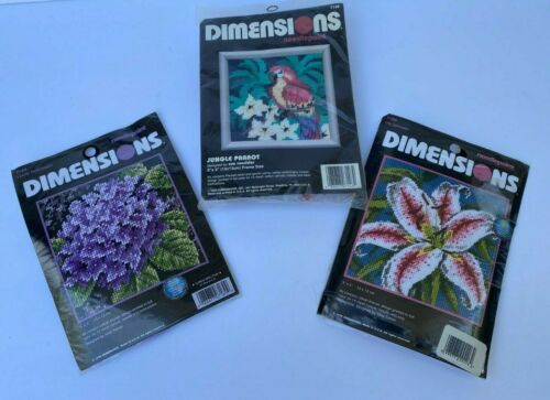 """Dimensions LOT OF 3 Needlepoint Kits 5""""x5"""" Lily Parrot Hydrangea"""